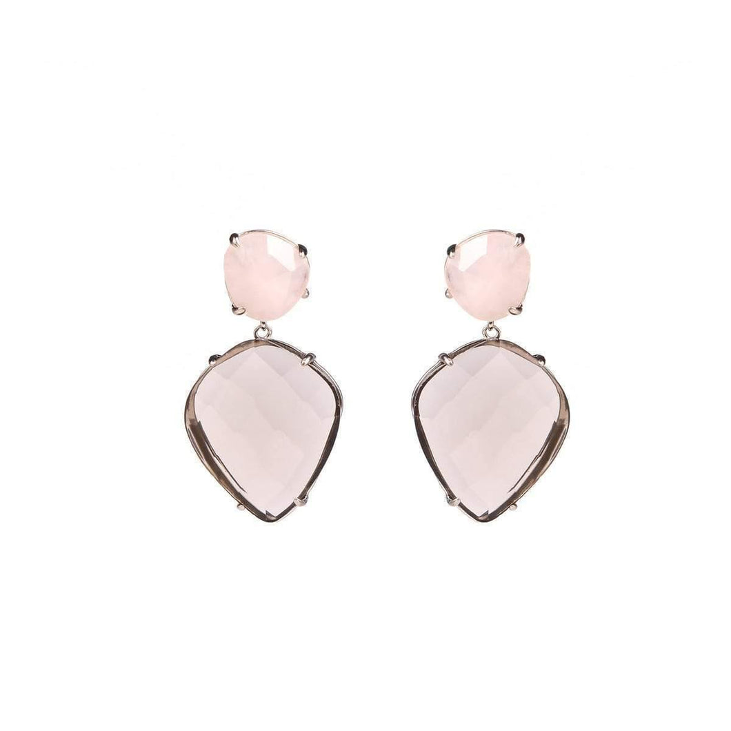 Infinite Love Pink Quartz & Smoky Quartz Sterling Silver Earrings - Tanzire Store