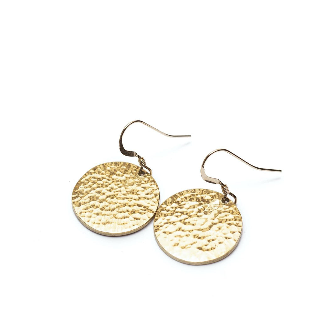 Minimal gold plated medallion earrings handmade from brass for everyday wear