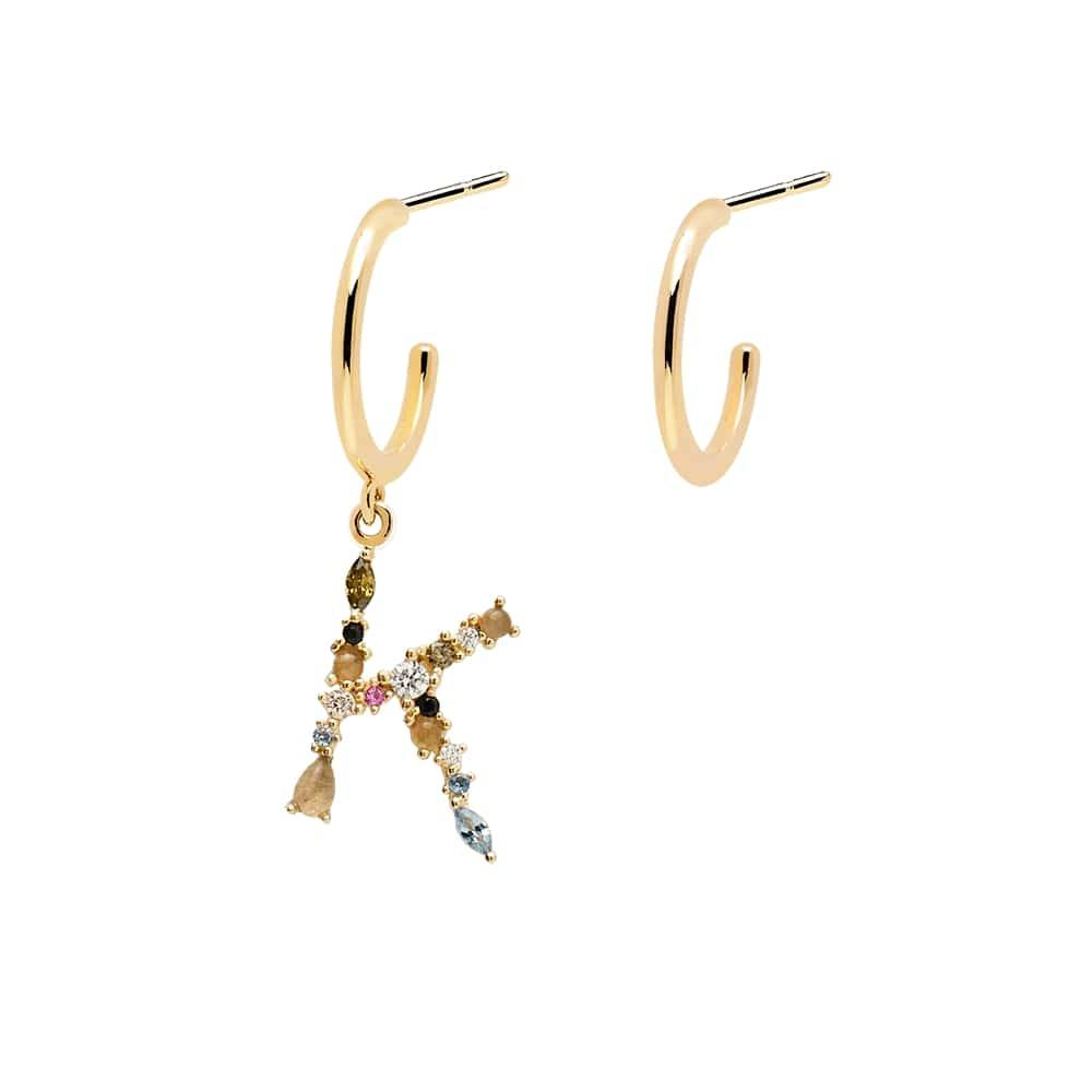 Letter K Semi-precious Colorful Multi-stone Asymmetric Dangle Initial Alphabet Earrings