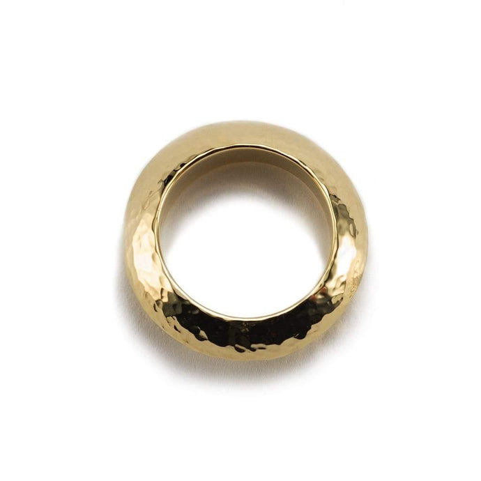 Chunky hammered textured gold plated minimal ring for women