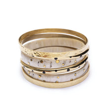 Load image into Gallery viewer,  Stack of gold and white bracelets handmade from brass for women