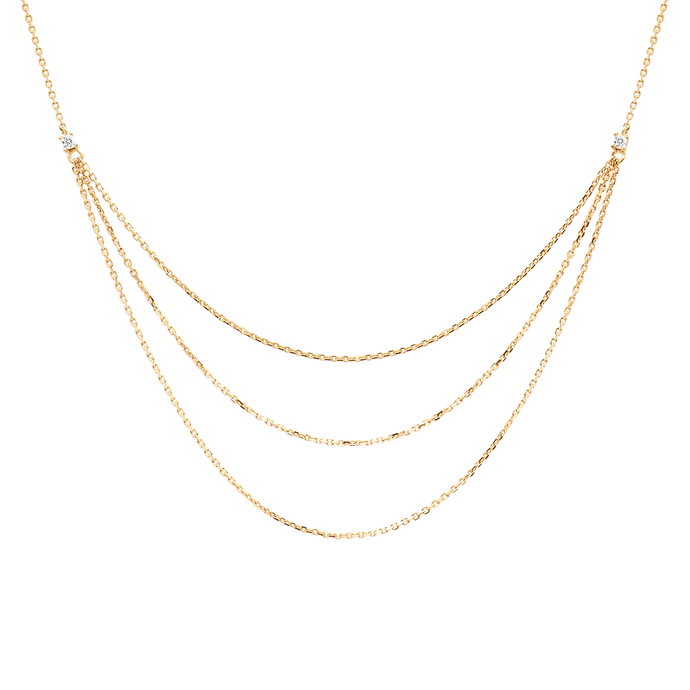 Layered Chain Necklaces in Sterling Silver and 18K Gold Plating with Studded White Zircons for Women