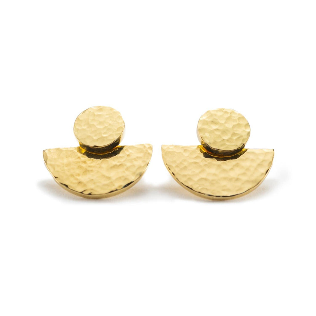 Contemporary gold plated hammered textured earrings handmade from brass for women