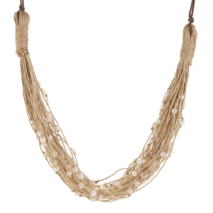 Pearl Studded Thread Layered Mandara Spritz Necklace - Tanzire Store