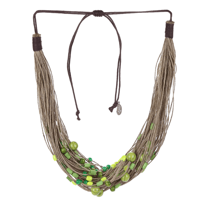 Stone Studded Thread Layered Mandara Spritz Lime Green Necklace - Tanzire Store