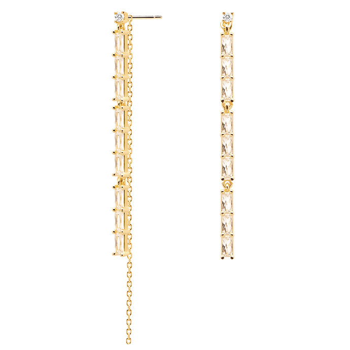 Minimal Threader Dangle Earrings in 18K Gold Plating with Studded White Cubic Zirconia Cocktail Accessories