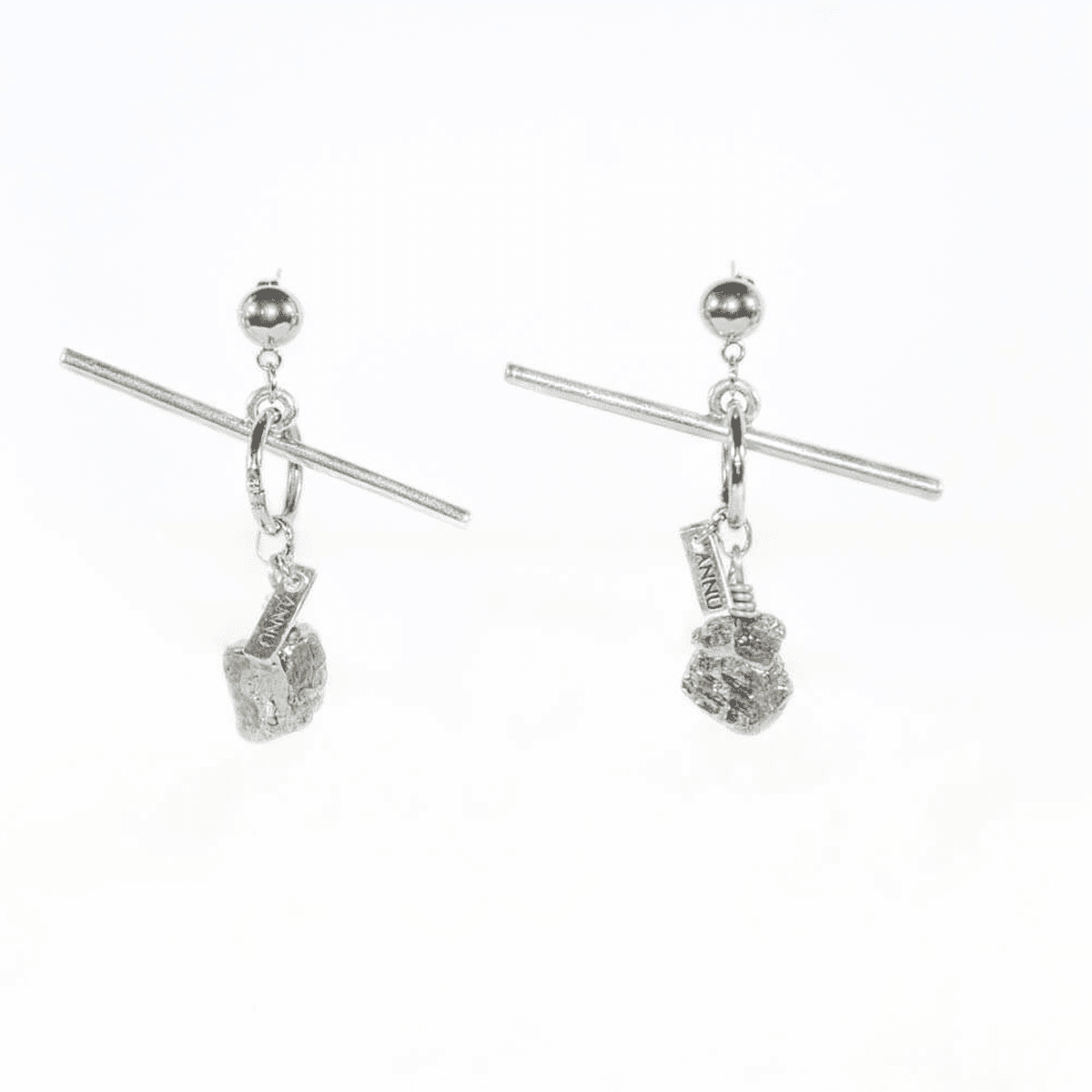 Unusual 3D Pyrite Stone Dangler Earrings - Tanzire Store
