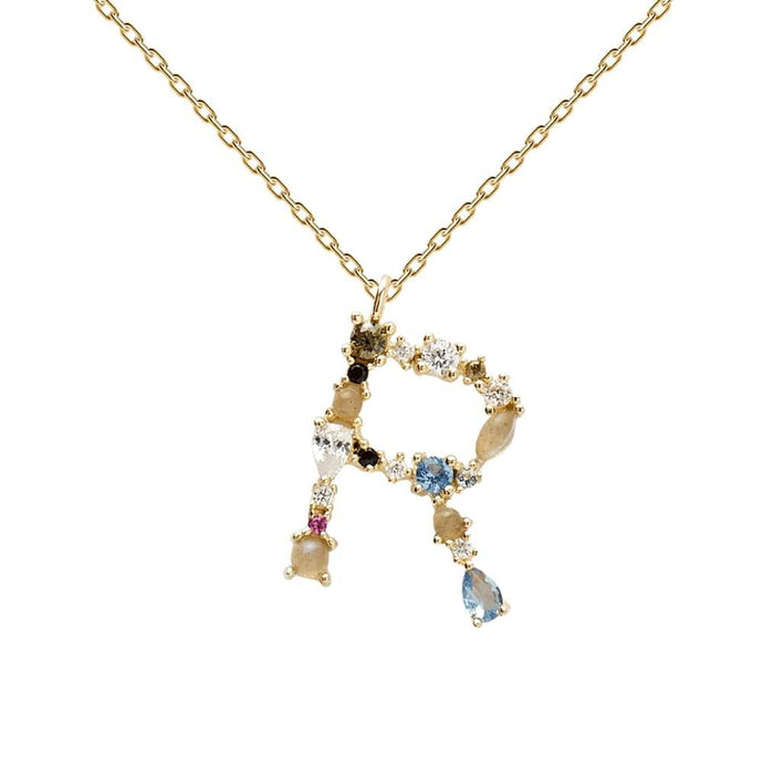 Multi-color Labradorite, Aquamarine, and Zircon Studded Letter 'R' 18k Gold Plated Initial Pendant With Chain