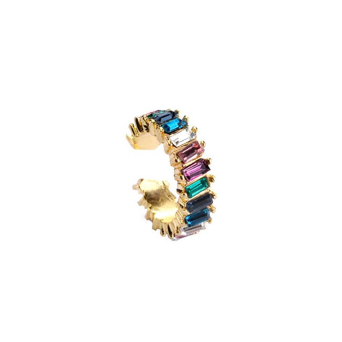 Sparkling gold plated easy click ear cuff for women studded with multi color glass crystals handmade from copper