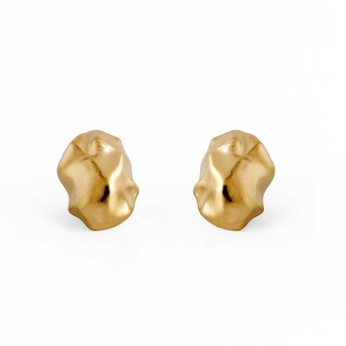 Chunky Handmade 24k Gold Plated Stud Earrings Made from Brass
