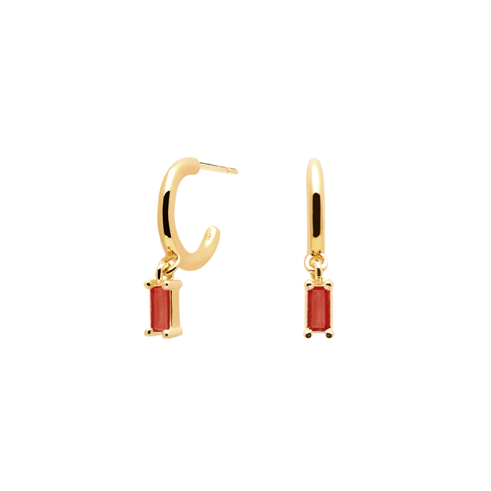 Small Gold Stud Earrings in 18K Gold Plating for Second Ear Hole with Studded Red Stone