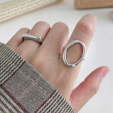 Load image into Gallery viewer, Rhodium Silver Plated Hollow Oval ring