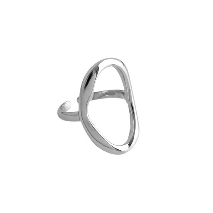 Everyday wear sleek adjustable rhodium silver plated oval ring for women handmade from sterling silver