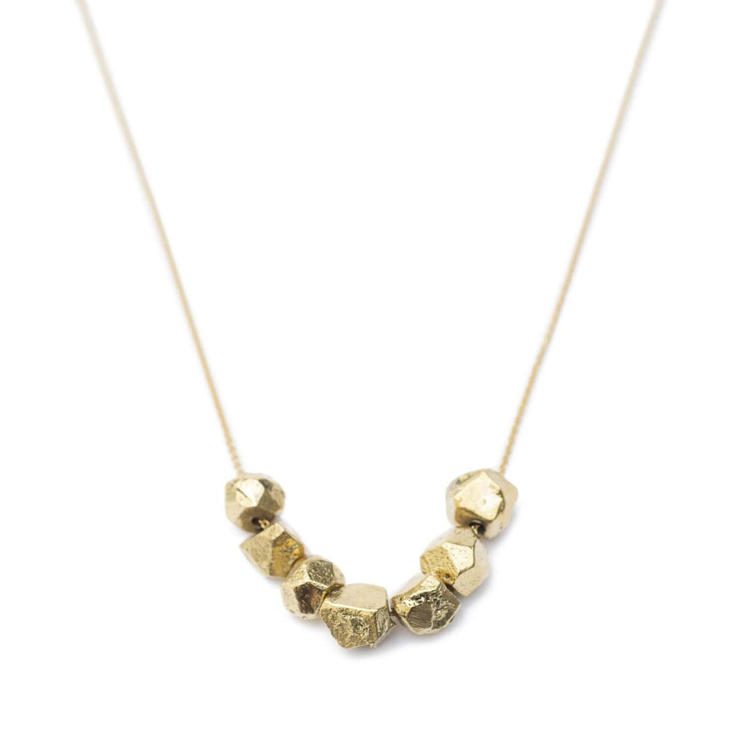 Chunky gold plated nuggets strung on a simple gold plated chain handmade from brass for women
