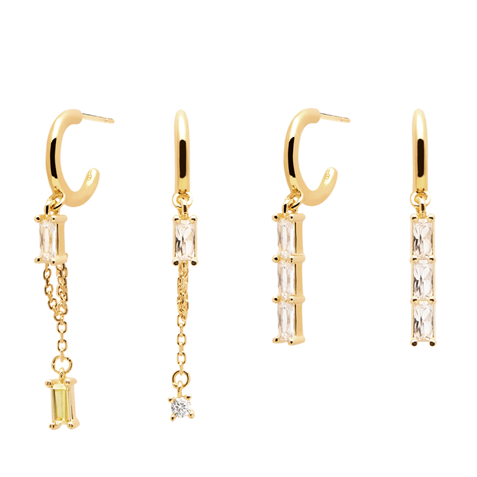 Set of 2 18K Gold Plated Dangle Stackable Earrings for Women with Studded White Stones