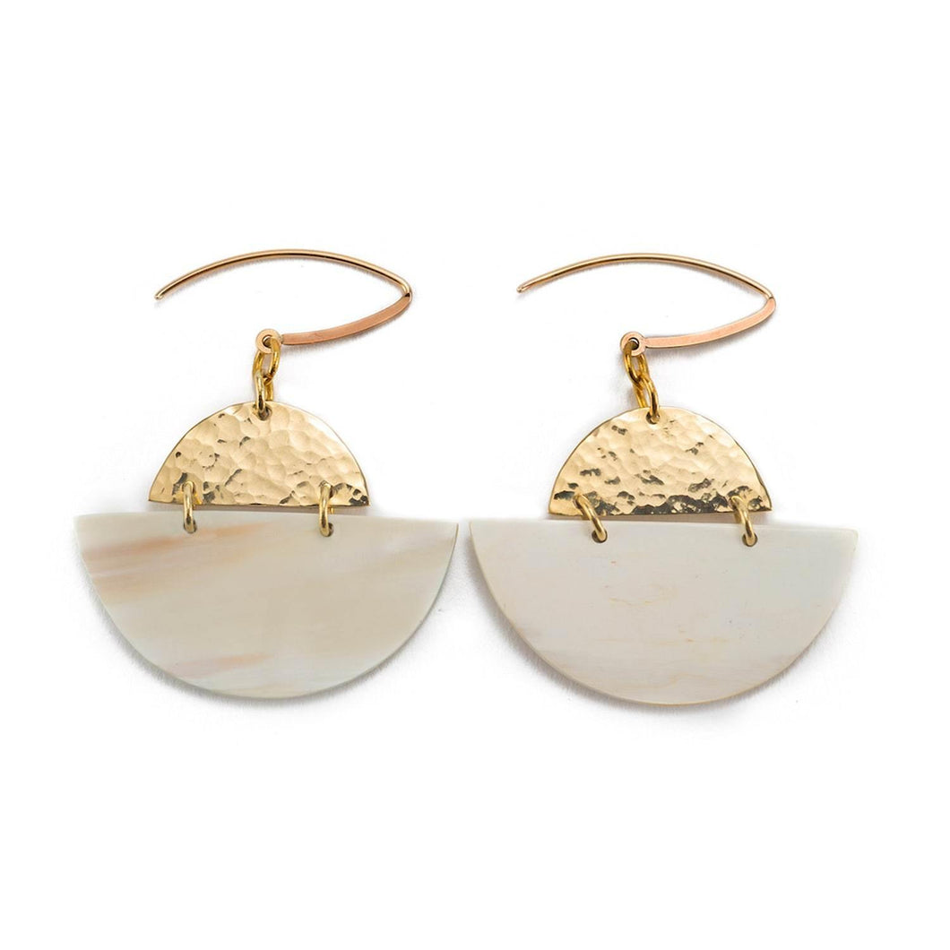 Party-wear gold plated dangle earrings with a golden top and white half-moon drop made from brass