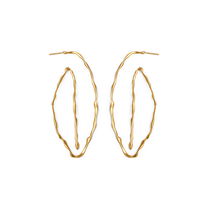 Unique  Handmade 24k Gold Plated Handmade Long Loop Earrings