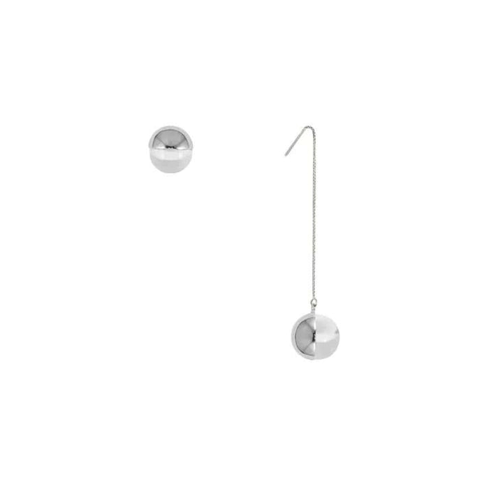 Handmade Rhodium Plated Asymmetric Stud and Long Dangle Glass Earrings