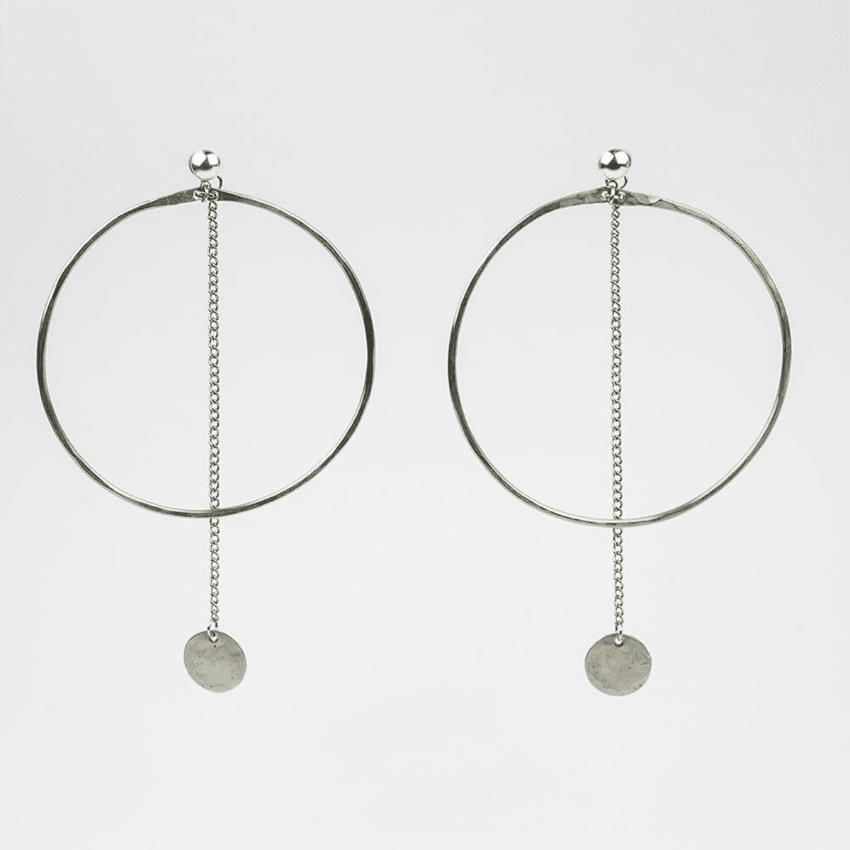 Minimal Dangler Chain Sunshine Hoop Earrings