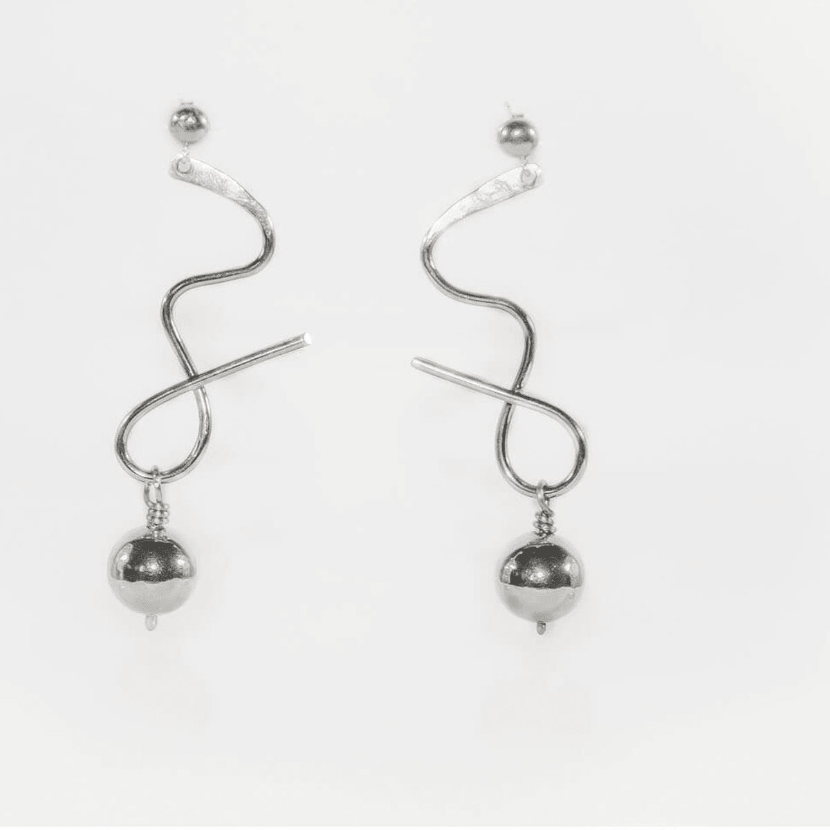 Steel Waves Drop Dangler Swing Earrings