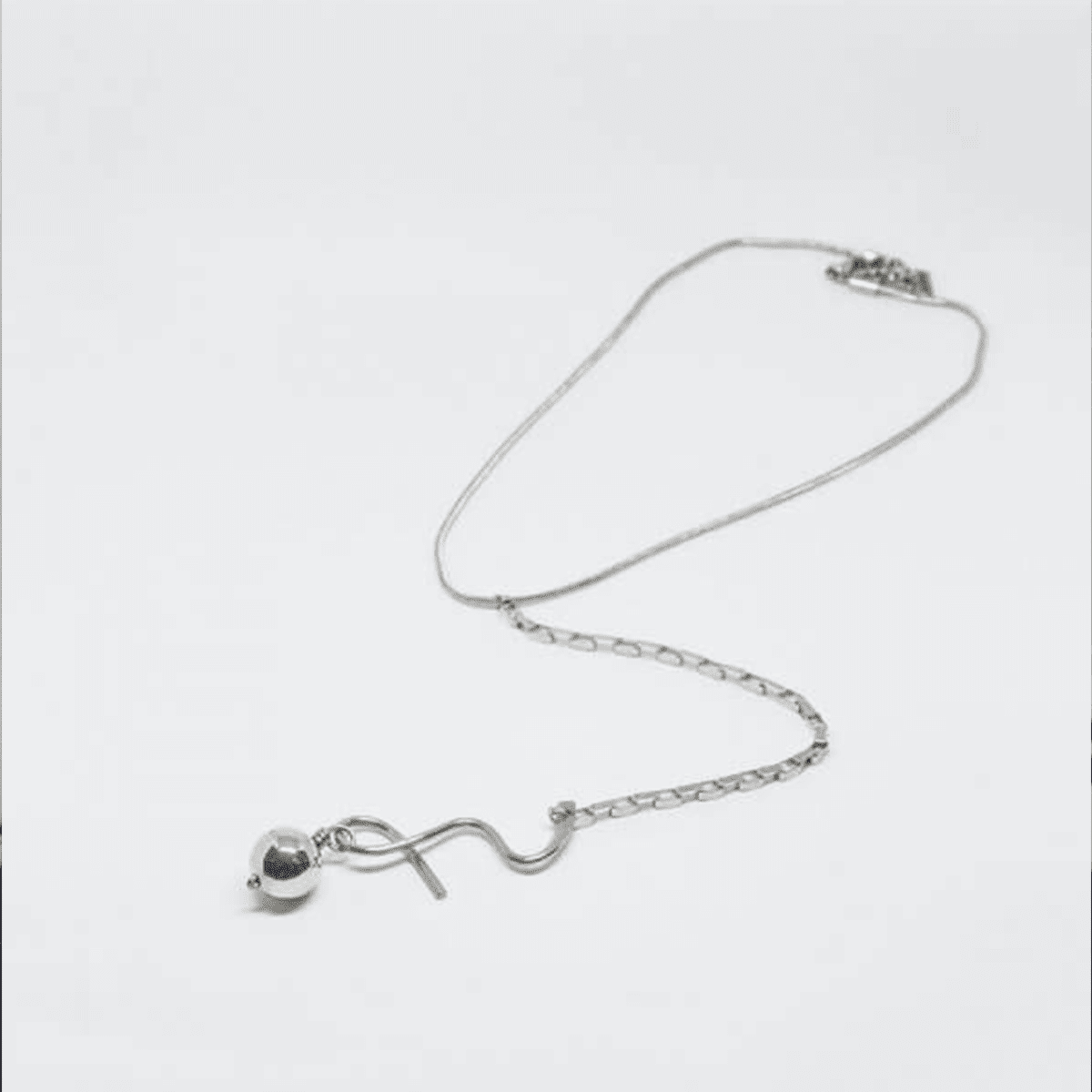Long Vertical Pendant Silver Swing Necklace