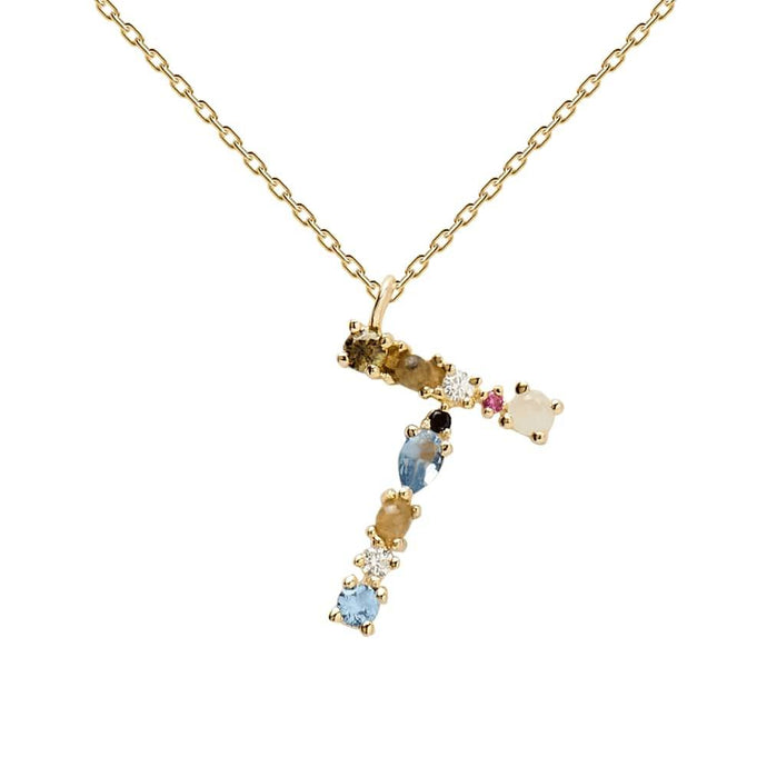 Multi-color Labradorite, Aquamarine, and Zircon Studded Letter 'T' 18k Gold Plated Initial Pendant With Chain