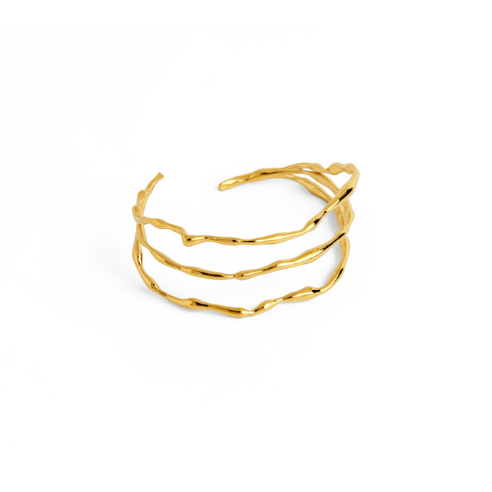 Handmade 24k Gold Plated Triple Loop Cuff Bracelet Handmade From Brass