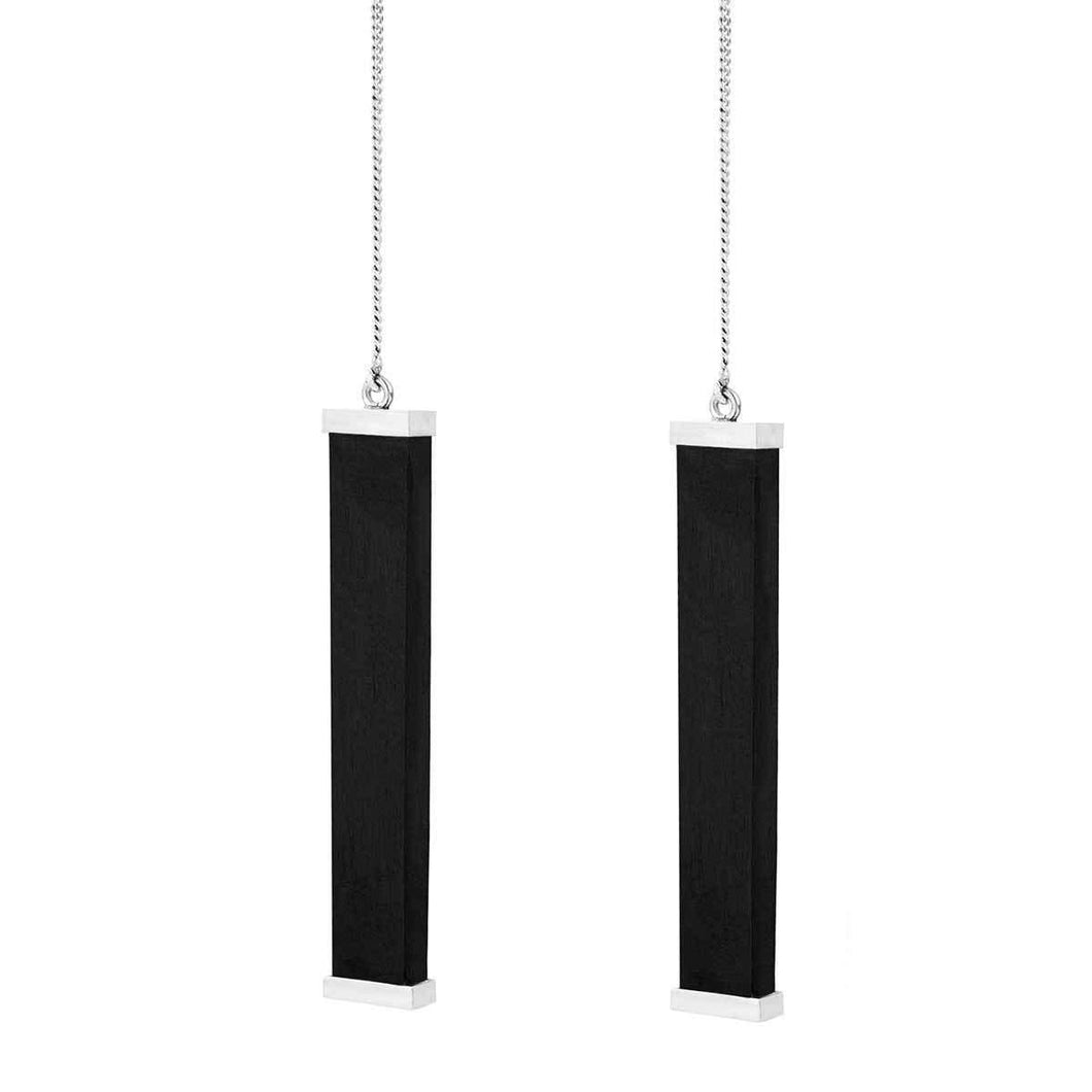 925 Sterling Silver And Ebony Wood Drop Line Earrings - Tanzire Store