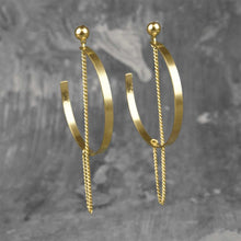 Load image into Gallery viewer, Dangler Chain Crescent Moon Earrings