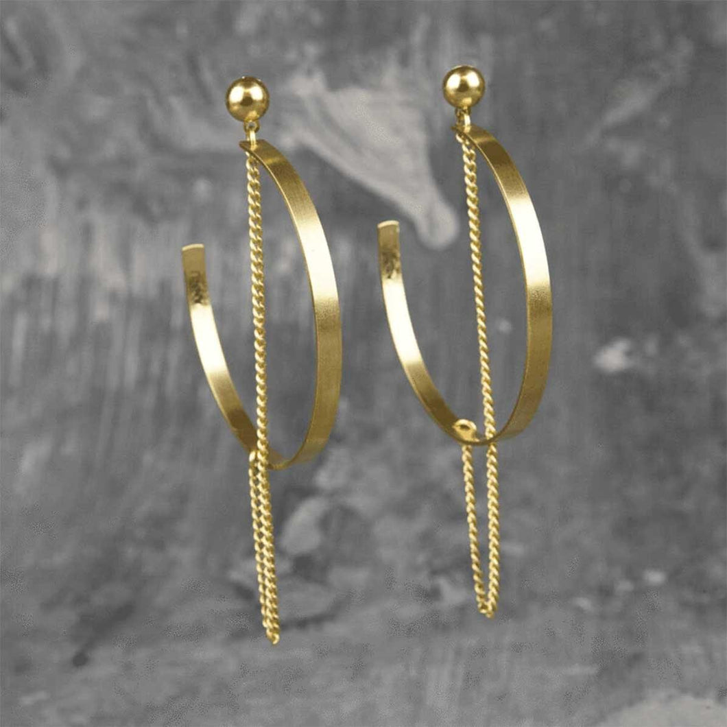 Dangler Chain Crescent Moon Earrings