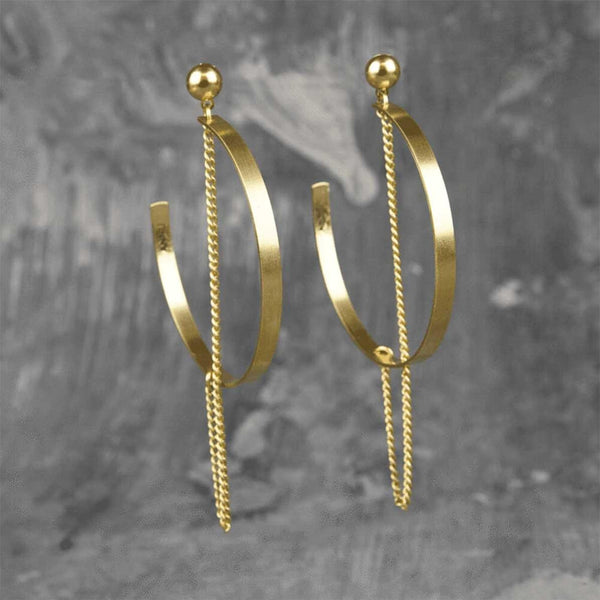 Minimal Dangler Chain Crescent Moon Earrings