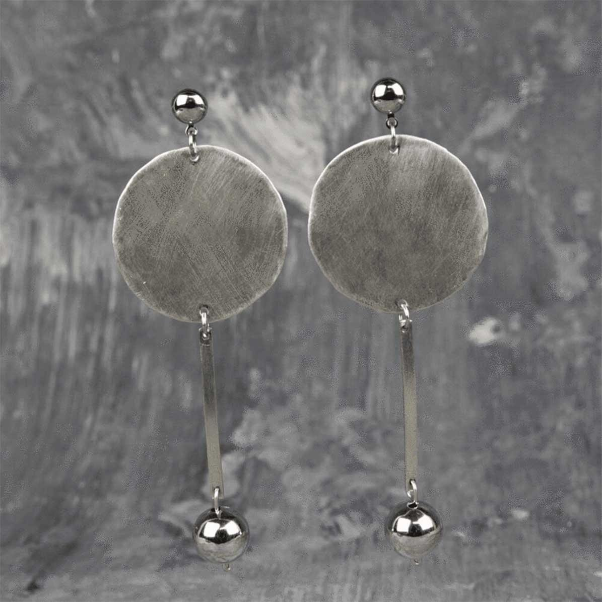 Handcrafted Minimal Silver Disc Raw Earrings