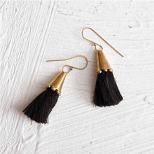 Load image into Gallery viewer, Handmade Brass Cone Tassel Earrings