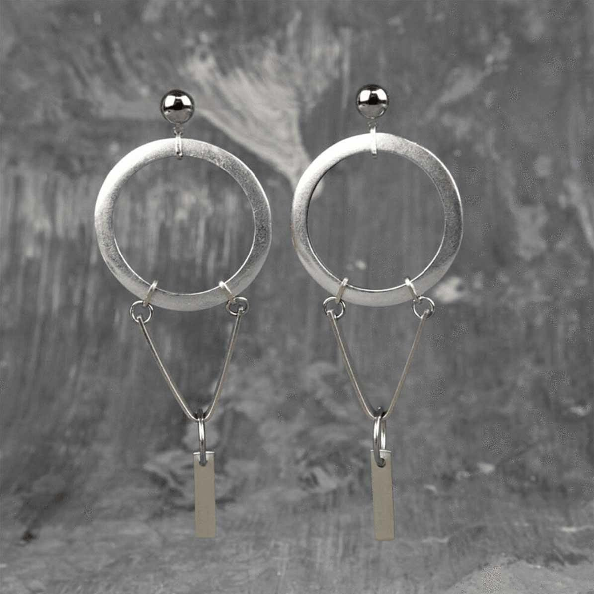 Steel & Silver Hoops Ovi Earrings