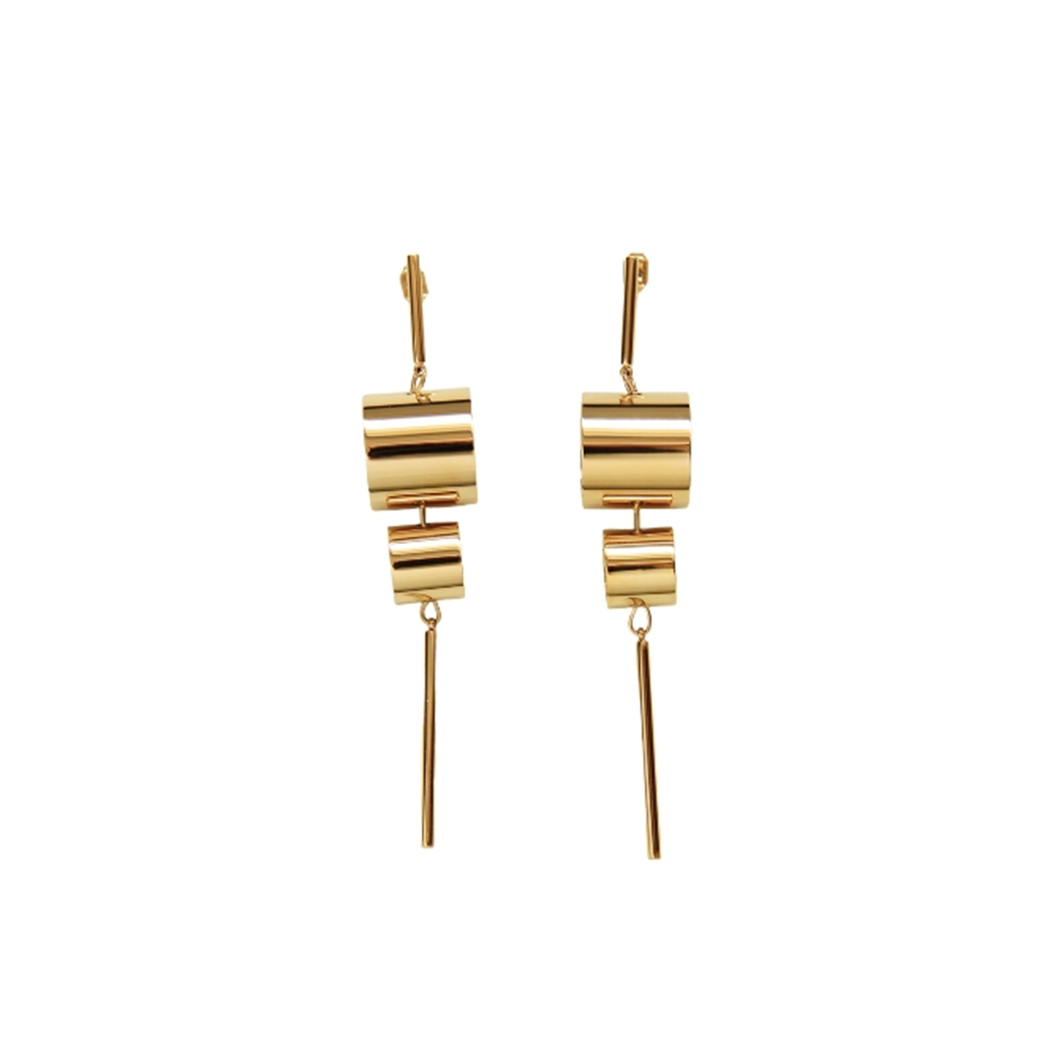Subtle Statement-making 18k Gold Plated Drum Roll Dangle Earrings - Tanzire