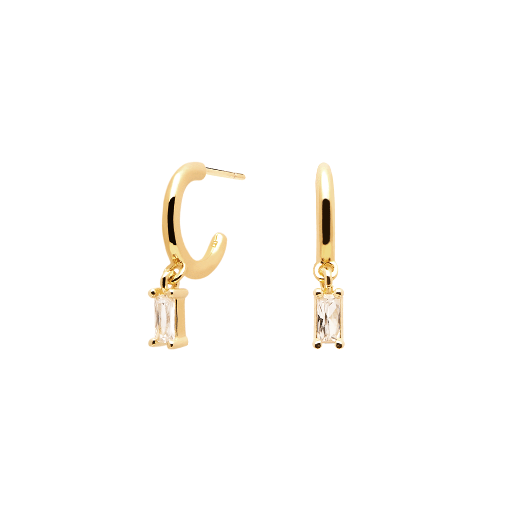 Handmade Tiny 18K Gold Plated Stud Earrings White White Zirconia Stones for Multiple Piercings