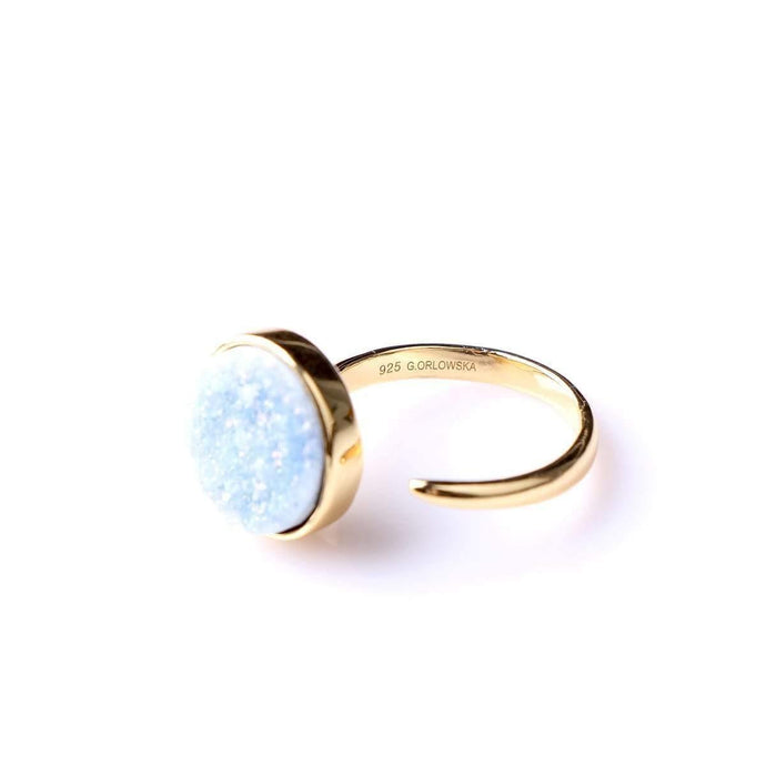 Zartha Baby Blue Gold Plated Druzy Open Ring - Tanzire Store