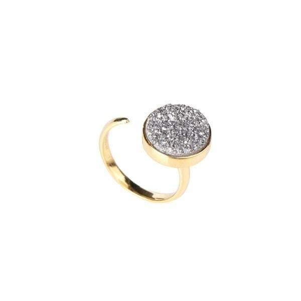 Zartha Moon Grey Gold Plated Druzy Open Ring - Tanzire Store