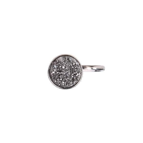 Zartha Moon Grey Sterling Silver Druzy Open Ring - Tanzire Store