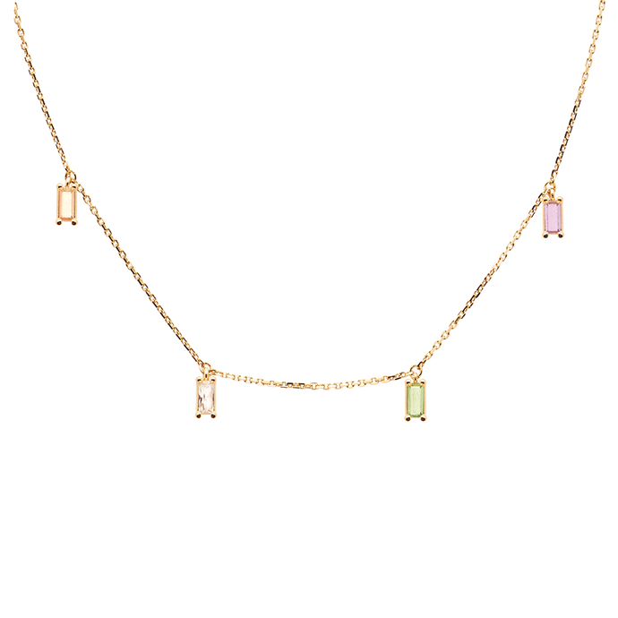 Delicate and Thin Gold Chain Necklace for Women with Studded Multi Color Stones for Everyday Wear