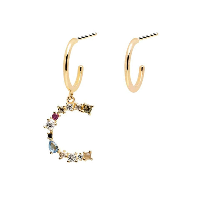 Letter c Semi-precious Colorful Multi-stone Asymmetric Dangle Initial Alphabet Earrings