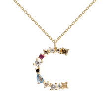 Load image into Gallery viewer, Multi-color Labradorite, Aquamarine, and Zircon Studded Letter 'C' 18k Gold Plated Initial Pendant With Chain