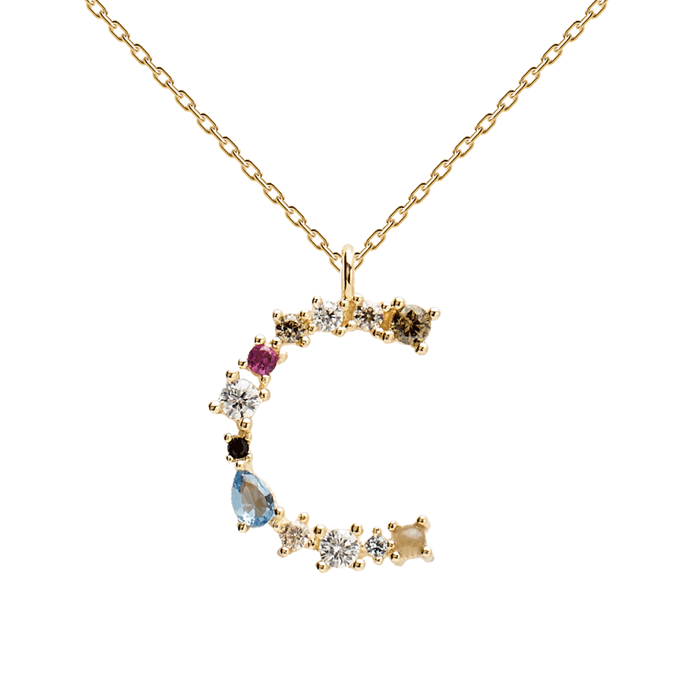 Multi-color Labradorite, Aquamarine, and Zircon Studded Letter 'C' 18k Gold Plated Initial Pendant With Chain