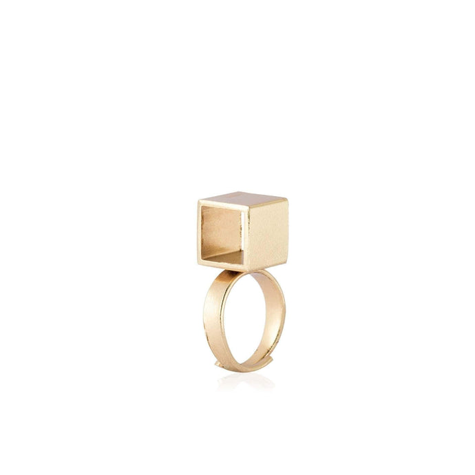 Adjustable Flora Cube Ring in Brass - Tanzire Store