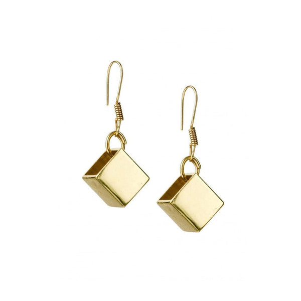 Cube Dangle Earrings in Brass - Tanzire Store