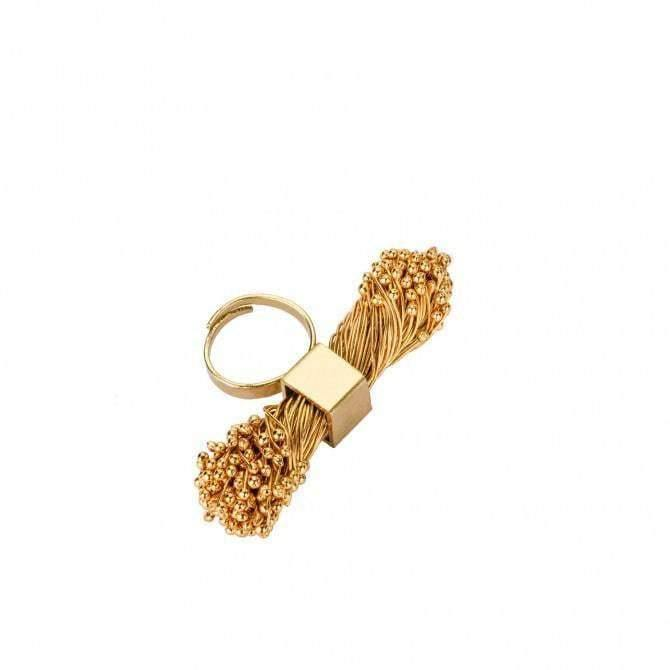 Adjustable Flora Cube Brass Ring - Tanzire Store