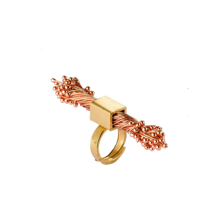 Adjustable Flora Cuboid Brass Ring - Tanzire Store