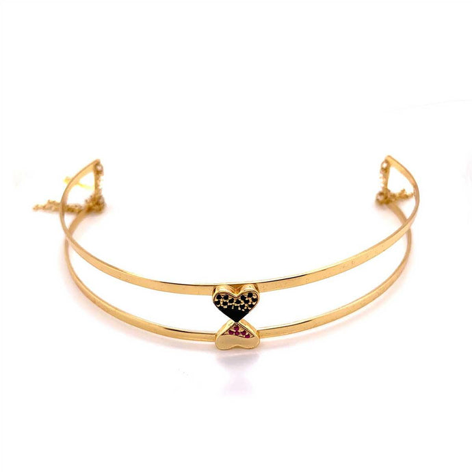 Double Layered Simple Gold Choker in 925 Sterling Silver and in 18K Gold Plating with Studded Cubic Zirconia
