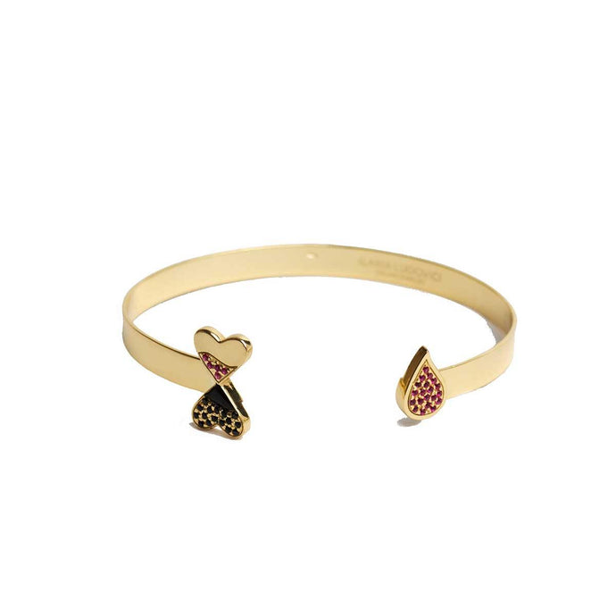 925 Sterling Silver Open Handmade Cuff Bracelet in 18K Gold Plating and Studded Red and Black Cubic Zirconia