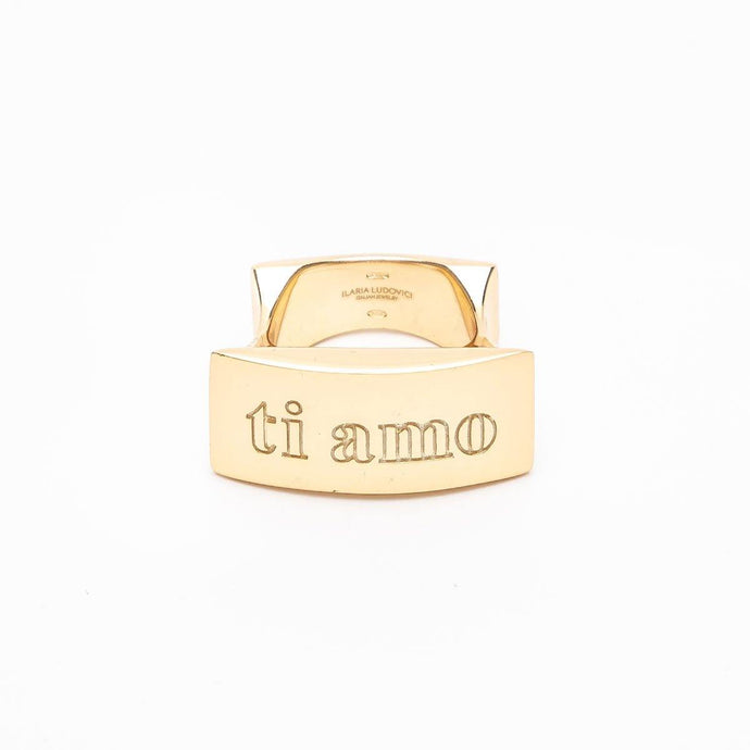 Ti Amo Engraved 18K Gold Plating Statement Ring in 925 Sterling Silver